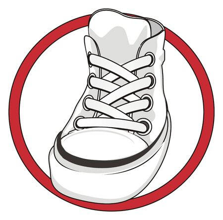 gray gumshoes on red sign Stock Photo