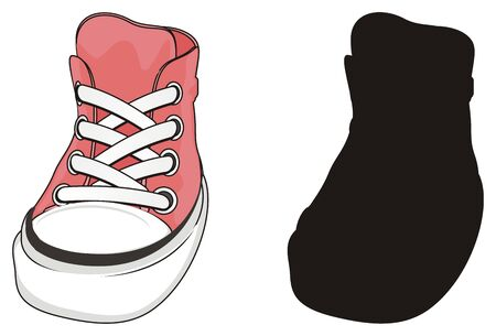 pink and solid black gumshoes Stock Photo