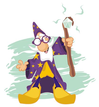wizard and blue background