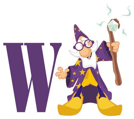 wizard and letter w Фото со стока
