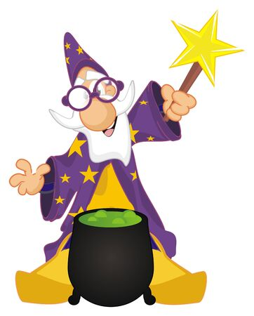 wizard with wand and boiler Фото со стока