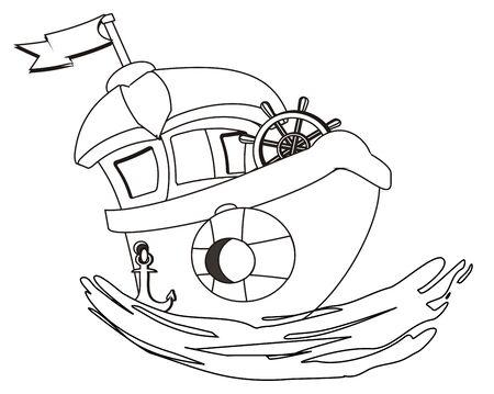coloring ship on wave Фото со стока