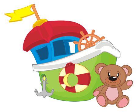 ship and bear toy Stockfoto