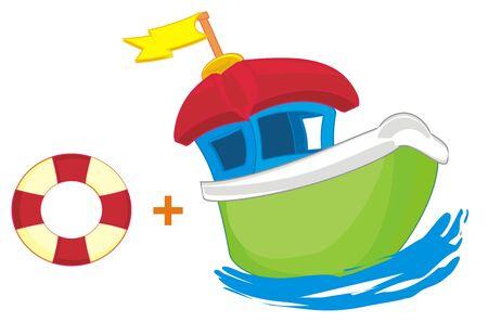 boat and life buoy Stockfoto - 134294952