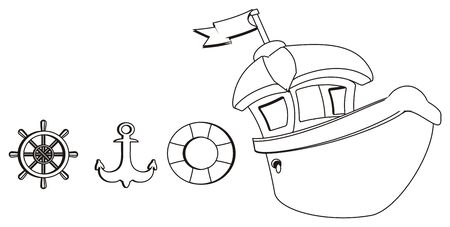 coloring ship and tools