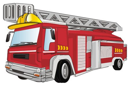 yellow helmet and red fire engine Stock Photo