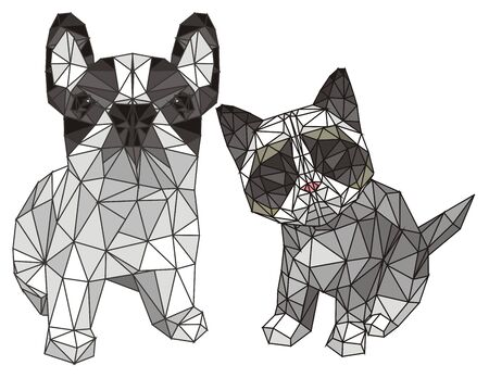 3d dog and cat 写真素材