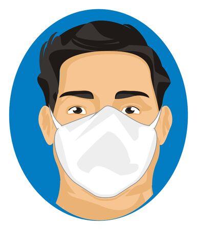 virus and man in mask Stockfoto