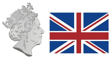 flag of UK and Elizabeth II