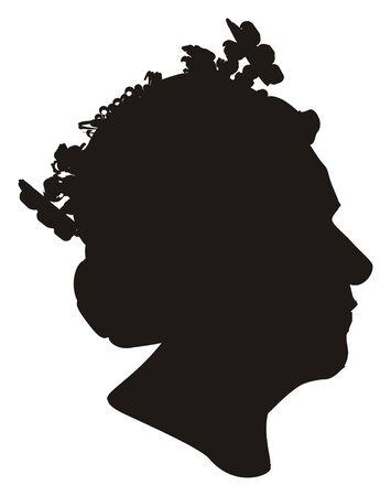 solid black shadow of queen Stockfoto