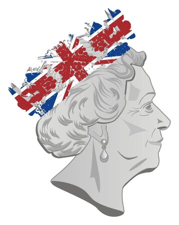 queen Elizabeth II with flag on crown