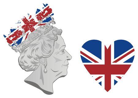 queen Elizabeth II and flag