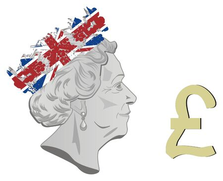 queen Elizabeth II and pound sign