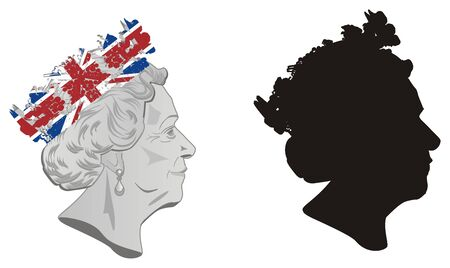 pair faces of queen Elizabeth II