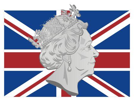 queen Elizabeth II and UK flag Stockfoto