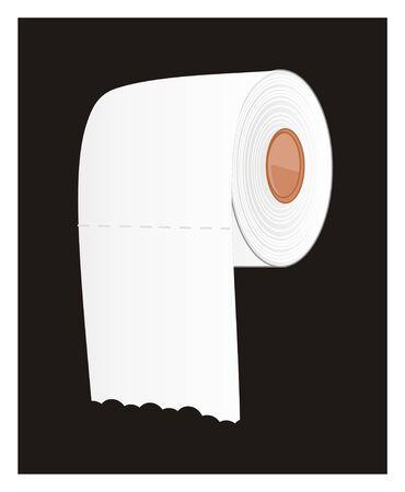 white toilet paper on black background Stockfoto