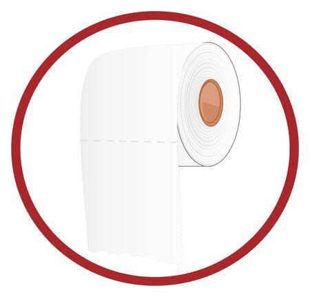 white toilet paper on red sign Stockfoto