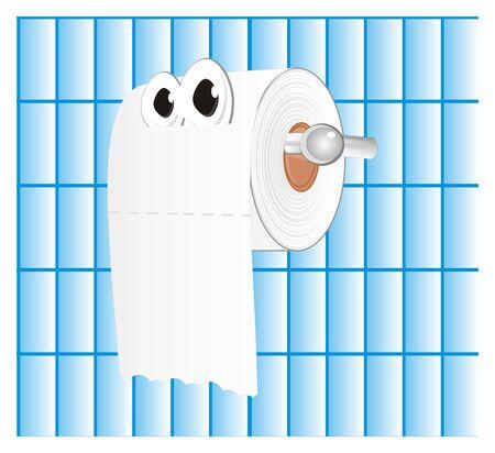 white toilet paper with eyes Stockfoto