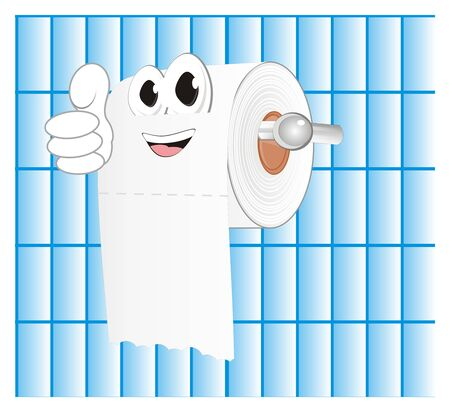 happy white toilet paper with gesture