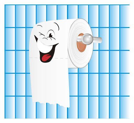 happy white toilet paper Stockfoto