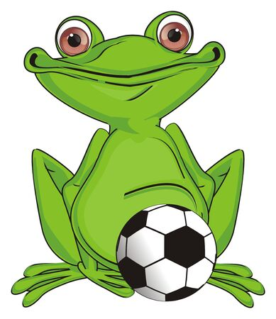 happy green frog and soccer