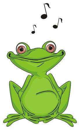 happy green frog sing a song