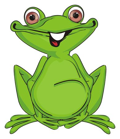 funny green frog with teeth
