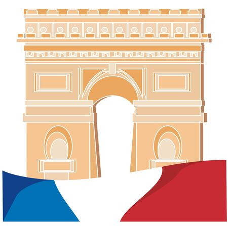 arc de triomphe and flag of France