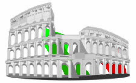 Coliseum and italy flag