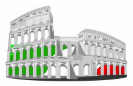 famous coliseum and flag