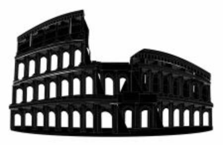 solid black shadow of coliseum