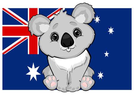 Australia flag and koala