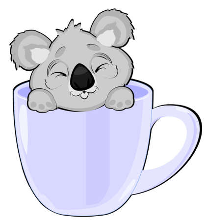 sleepy koala in cup