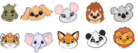 masks of animals cartoon Stock fotó