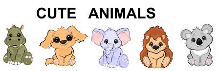 ser of animals cartoon