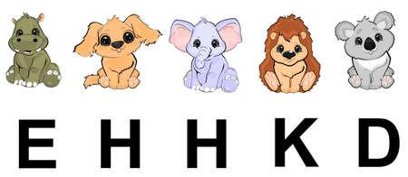 set of animals and alphabet