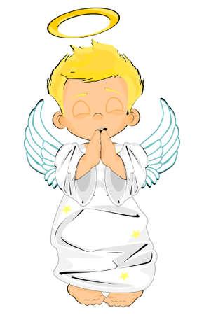 boy angel pray