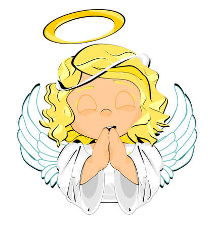 cute angel pray Stock fotó