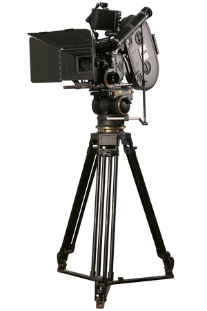 cinematograph: Black cinematograph camera isolateted on white background Stock Photo