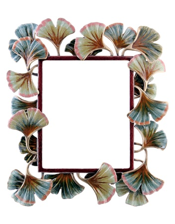 Floral photo frame isolated on white background Stok Fotoğraf