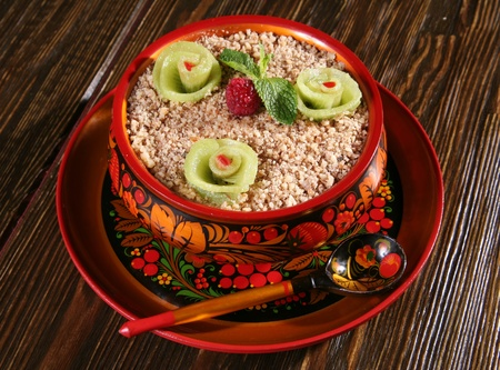 Cereal buckwheat and fruit in russian national dish