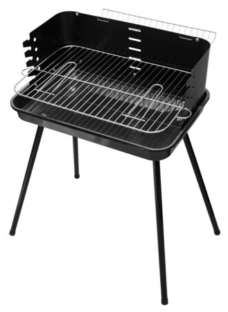 Black barbecue appliance isolated on white background