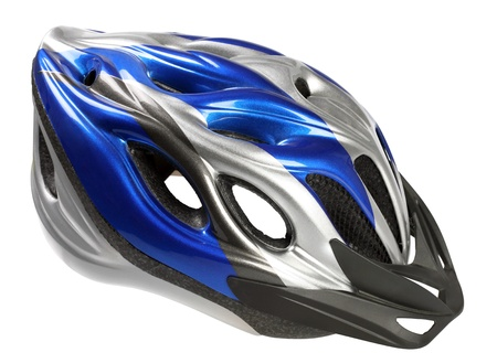blue helmet: Bike helmet closeup isolated on white background