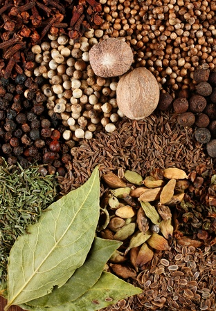Mix spice background with bay leaf closeup photo