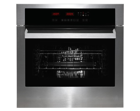 black appliances: Black gass and metal kitchen oven front on white