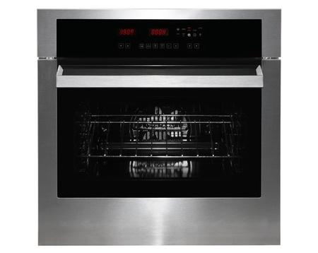black appliances: Gass nero e metallo cucina forno anteriore su bianco Archivio Fotografico