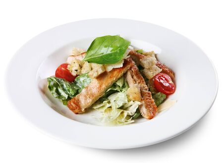 Fresh salad with fried brisket meat slice photo