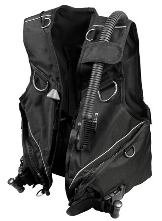 buoyancy: Black buoyancy Compensator diving equipment on white