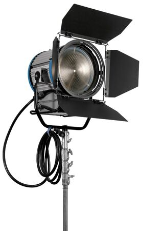 cinematograph: Cinematograph spotlight equipment detail on white background