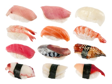 Japan food sushi set on white background Stok Fotoğraf